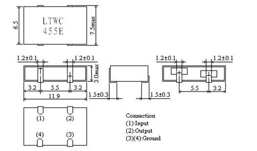 陶瓷贴片晶振,ltwc455e,陶瓷谐振器