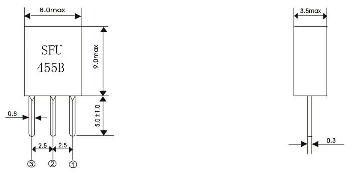 455bsfu,陶瓷滤波器,收音机滤波器,陶瓷晶振